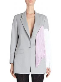 Each X Other - Fringe Colorblock Wool Jacket at Saks Off 5th