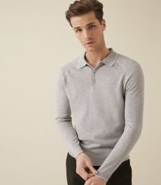 Earlsfield Grey Long Sleeved Tipped Polo at Reiss