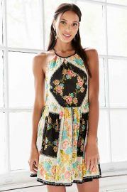 Ecote Bonita High-Neck Print Mini Dress at Urban Outfitters
