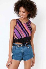 Ecote Diagonal Crochet Fringe Tank at Urban Outfitters