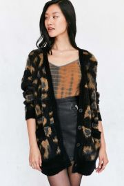 Ecote Leopard Brushed Boyfriend Cardigan at Urban Outfitters