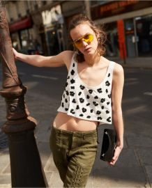Ecru Cotton Vest Top with Leopard Print at The Kooples