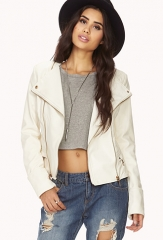 Edgy collarless faux leather jacket at Forever 21