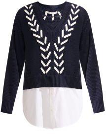 Edwin Mixed-Media Sweater by Veronica Beard at Veronica Beard
