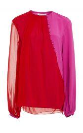 Egan Two-Tone Button-Detailed Silk-Chiffon Blouse by Prabal Gurung at Moda Operandi