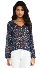 Eight Sixty Turtle Bay Blouse in Navy Aqua  REVOLVE at Revolve