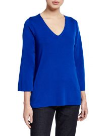 Eileen Fisher V-Neck 3 4-Sleeve Merino Wool Top at Neiman Marcus