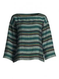 Eileen Fisher - Stripe Organic Linen Trapeze Top at Saks Fifth Avenue