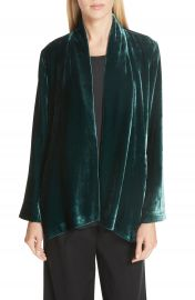 Eileen Fisher Angled Front Velvet Jacket  Regular  amp  Petite at Nordstrom