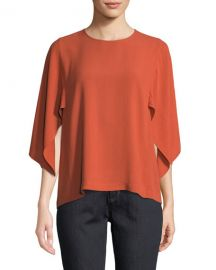 Eileen Fisher Cape-Sleeve Silk Top at Neiman Marcus