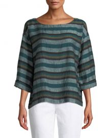 Eileen Fisher Cross-Dyed Linen Striped Box Tee  Plus Size at Neiman Marcus
