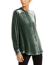 Eileen Fisher Mandarin-Collar Shirt   Reviews - Tops - Women - Macy s at Macys
