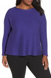 Eileen Fisher Mix Rib Cotton  amp  Silk Blend Sweater  Plus Size at Nordstrom