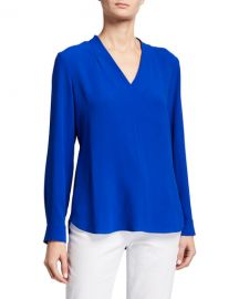 Eileen Fisher Petite V-Neck Long-Sleeve Silk Crepe Top at Neiman Marcus