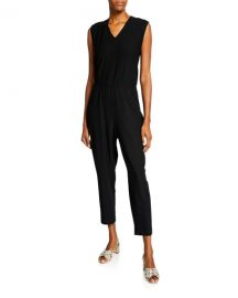 Eileen Fisher Petite Washable Crepe V-Neck Sleeveless Straight-Leg Jumpsuit at Neiman Marcus