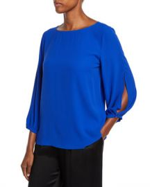 Eileen Fisher Split-Sleeve Silk Crepe Blouse at Neiman Marcus