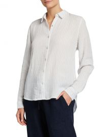 Eileen Fisher Striped Cotton Gauze Classic Collared Shirt at Neiman Marcus