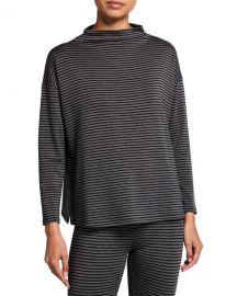Eileen Fisher Striped Funnel-Neck Stretch Terry Box Top at Neiman Marcus