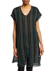 Eileen Fisher Striped Short-Sleeve Cotton Gauze Caftan at Neiman Marcus