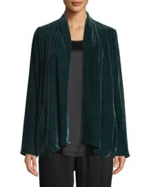 Eileen Fisher Velvet Open-Front Jacket  Petite at Neiman Marcus