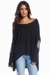 Elan Sequin Elbow Patch Sweater at Boutique To You