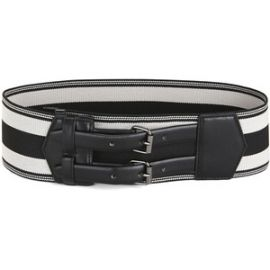 Elastic stripes belt at Bcbg