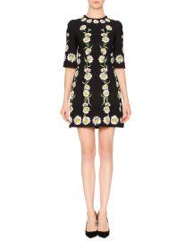 Elbow-Sleeve Cady Daisy Dress at Neiman Marcus