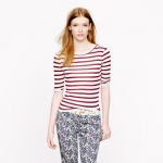 Elbow sleeve tee in stripe at J. Crew
