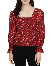 Electra Leopard Print Smocked Top at Bloomingdales