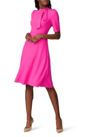 Electric Pink Tie Neck Dress by Donna Morgan at Rent The Runway
