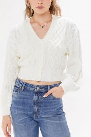 Elena Cable Knit Cardigan Sweater at Urban Outfitters