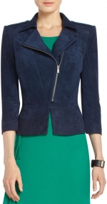 Elena's blue jacket at Bcbgmaxazria