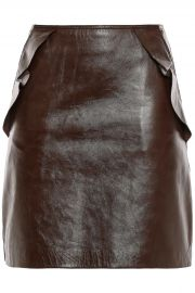 Elgantier Ruffle-Trimmed Leather Mini Skirt by Sandro at The Outnet