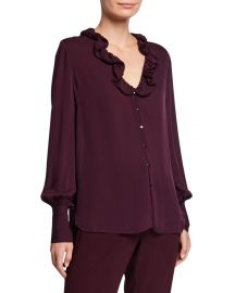 Elie Tahari Azra Silk Button-Down Long-Sleeve Blouse at Neiman Marcus