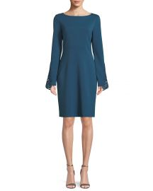 Elie Tahari Azura Boat-Neck Long-Sleeve Ponte Sheath Dress w  Lace Cuffs at Neiman Marcus