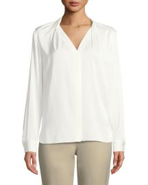 Elie Tahari Rosalina Silk-Stretch Blouse at Neiman Marcus