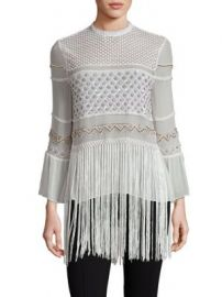 Elie Tahari - Aislin Silk Fringe Hem Blouse at Saks Fifth Avenue