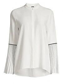 Elie Tahari - Frida Pleated-Sleeve Silk Blouse at Saks Fifth Avenue