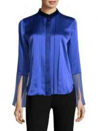 Elie Tahari - Izarra Pleated Silk Blouse at Saks Fifth Avenue