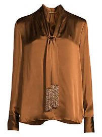 Elie Tahari - Kendal Beaded Tie-Neck Silk Blouse at Saks Fifth Avenue