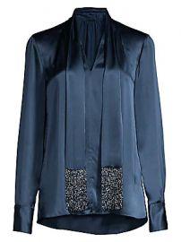 Elie Tahari - Kendal Beaded Tieneck Silk Blouse at Saks Fifth Avenue