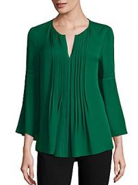 Elie Tahari - Orion Pleated Bell-Sleeve Silk Blouse at Saks Fifth Avenue