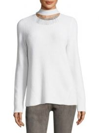 Elie Tahari - Oz Ribbed Choker Cashmere Sweater at Saks Fifth Avenue