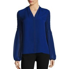 Elie Tahari - Smocked Georgette Silk Blouse blue at Saks Fifth Avenue