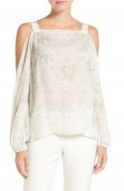 Elie Tahari  Lindy  Print Silk Cold Shoulder Blouse at Nordstrom