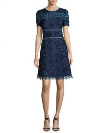 Elie Tahari Adina Short Sleeve Floral Applique and Lace Dress at Neiman Marcus