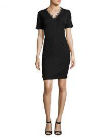 Elie Tahari Ainsley Short Sleeve Lace Trim Sheath Dress at Neiman Marcus