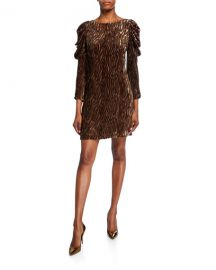 Elie Tahari Alex Bateau-Neck Ruched Long-Sleeve Dress at Neiman Marcus