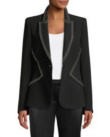 Elie Tahari Allegra One-Button Crepe Jacket w  Studs at Neiman Marcus
