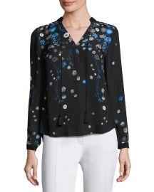 Elie Tahari Amina Long-Sleeve Tie-Neck Floral-Print Blouse  Multi at Neiman Marcus